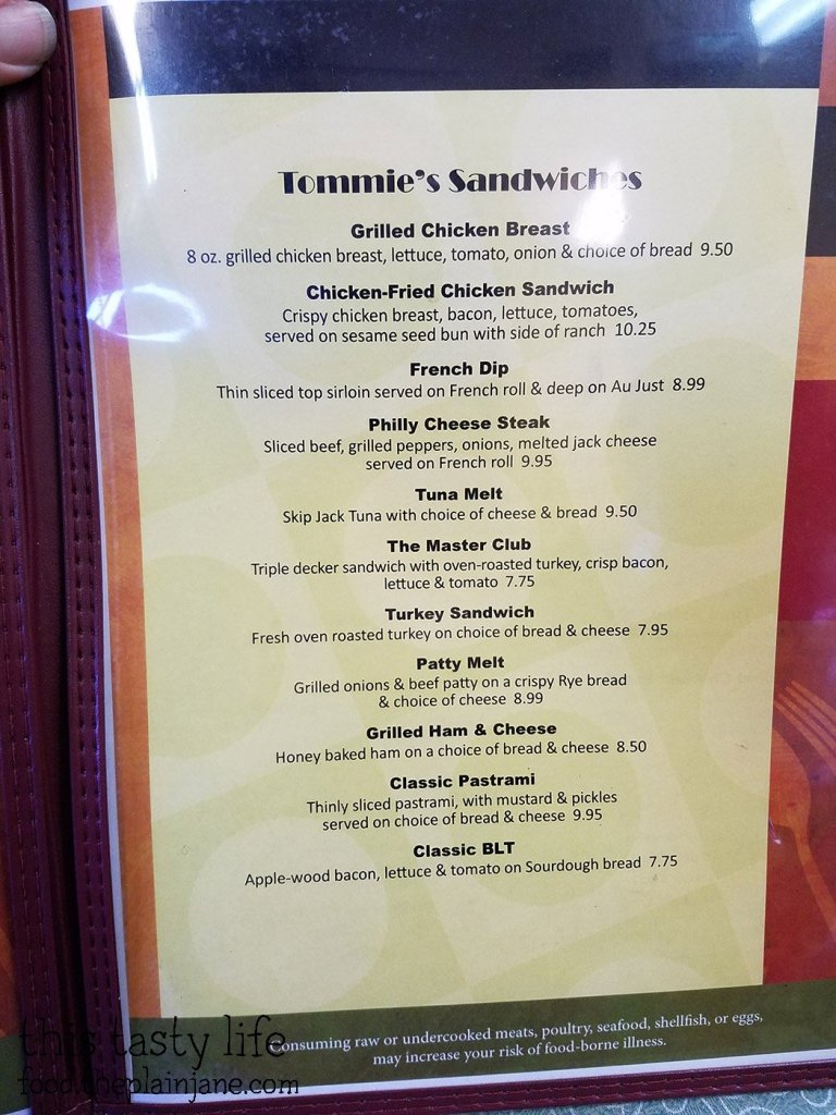 Menu at Tommie's Castaic Cafe