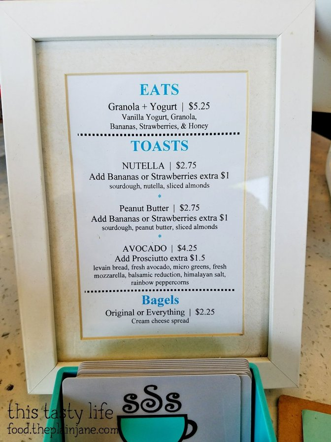 Food Menu at S3 Coffee Bar - San Diego, CA