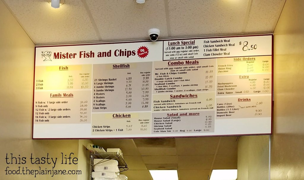 Menu at Mister Fish and Chips in San Diego, CA