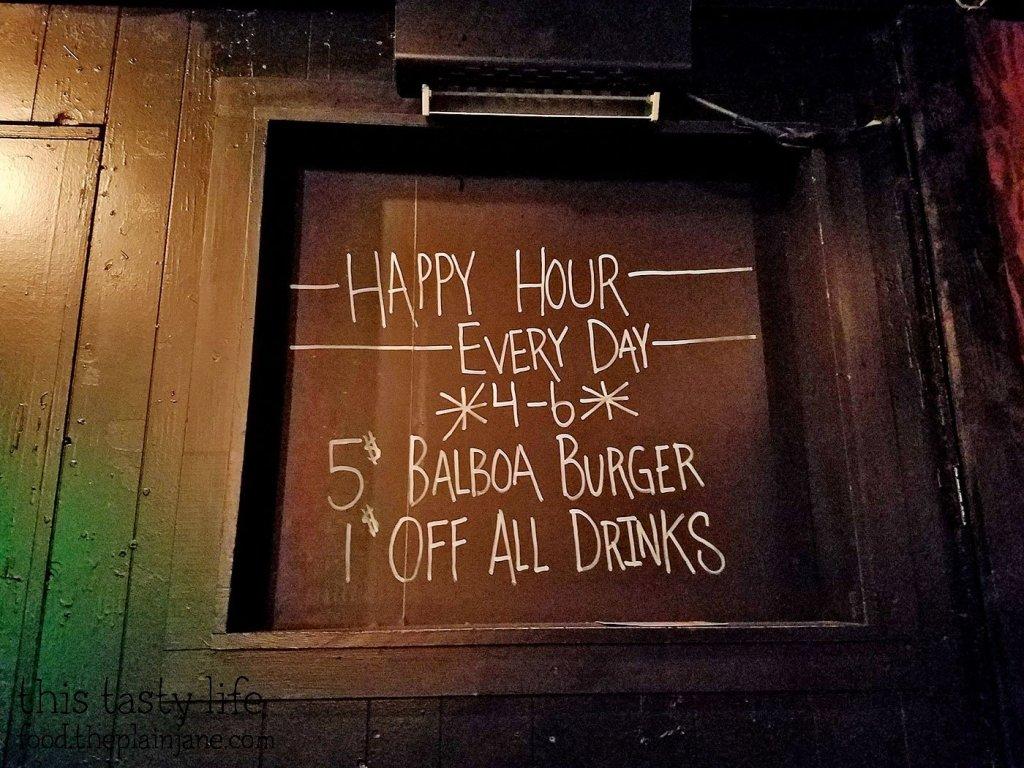 Happy hour menu at Balboa Bar & Grill - San Diego, CA