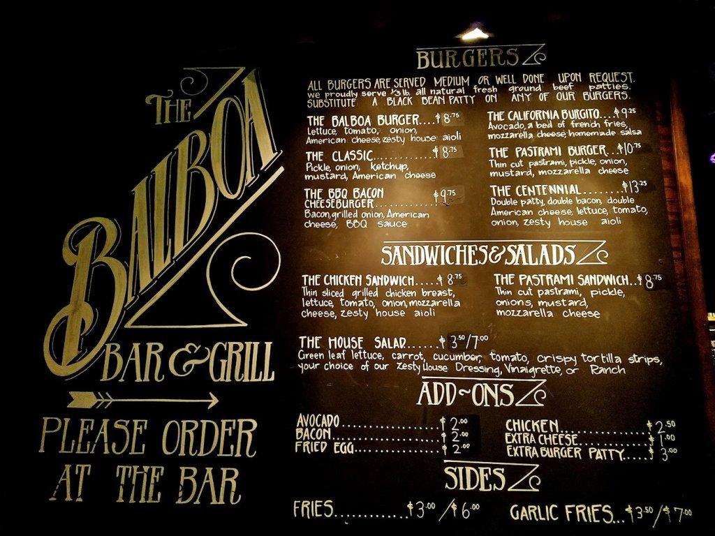 The Menu at Balboa Bar & Grill - San Diego, CA
