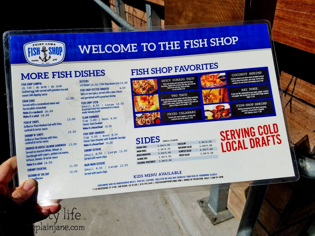 Menu at Point Loma Fish Shop - San Diego, CA