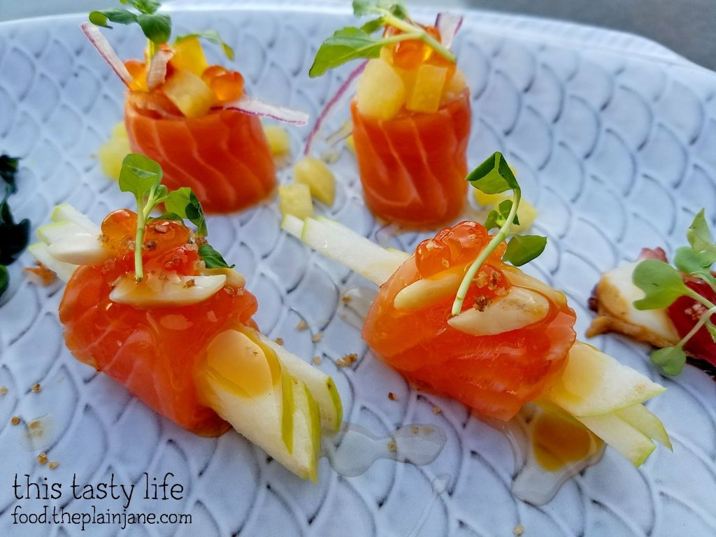 Caramel Apple Salmon Crudo at Fishmonger's Market in San Diego, CA