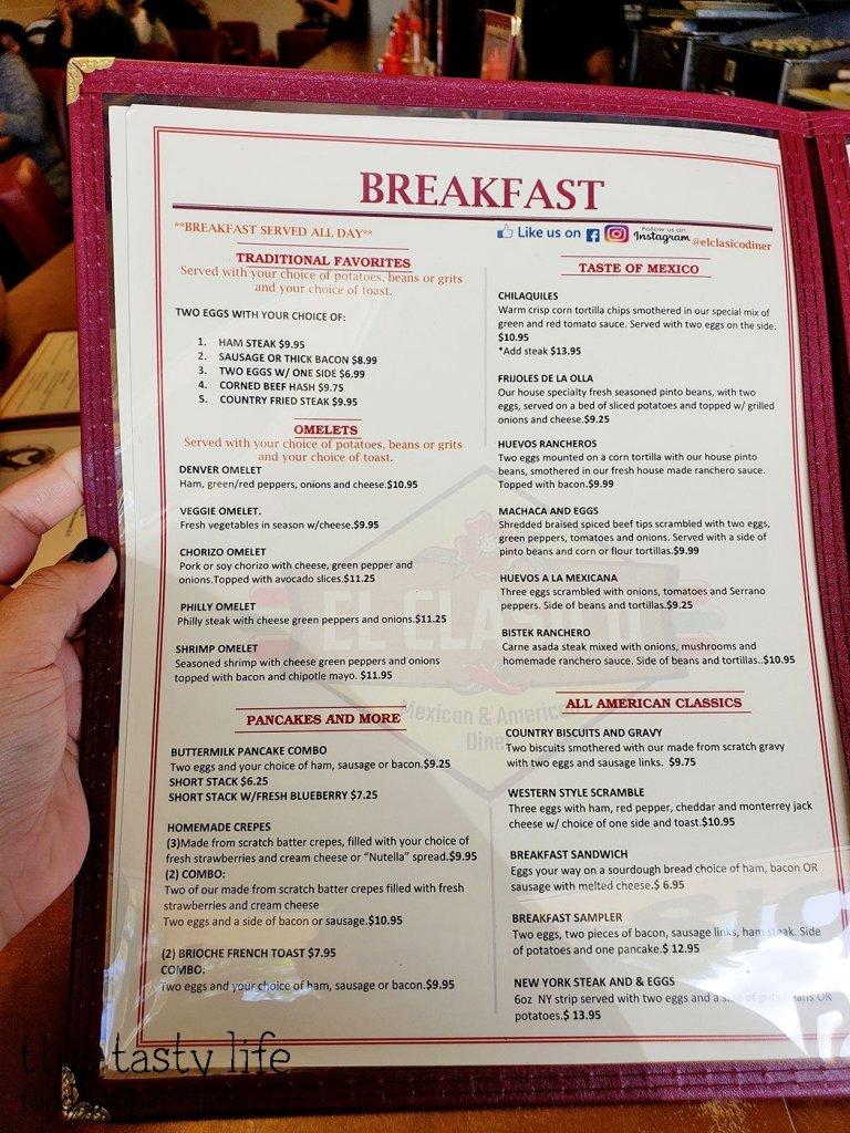 Breakfast Menu at El Clasico Diner - Lemon Grove, San Diego, CA