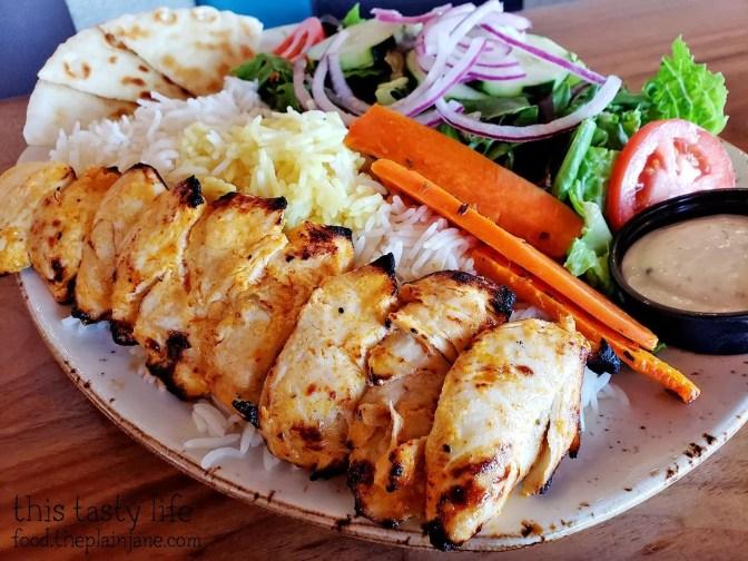 Flat Chicken Kabob Plate at Luna Grill - San Diego, CA