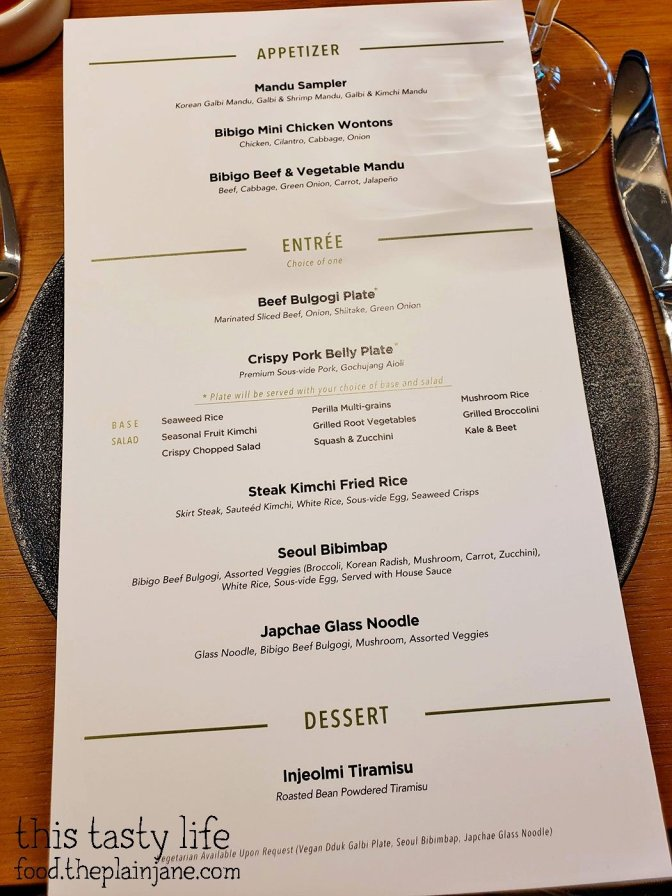Media Dinner Menu at Bibigo Kitchen