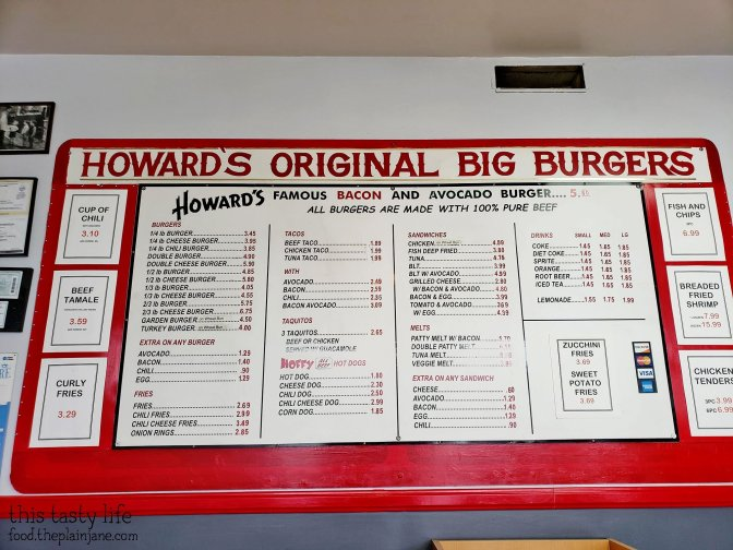 Menu at Howard's Famous Bacon & Avocado Burger - Los Angeles, CA
