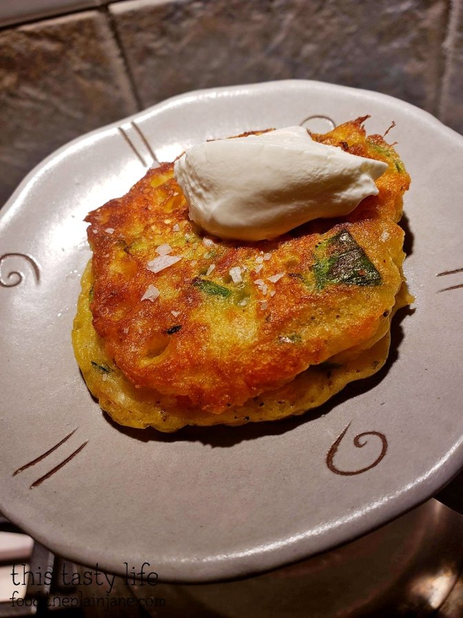 Savory Vegetable Pancakes with Sour Cream