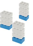 Shared ledger illustration : stacking legos