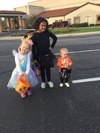 Trick-or-treating with sisters!