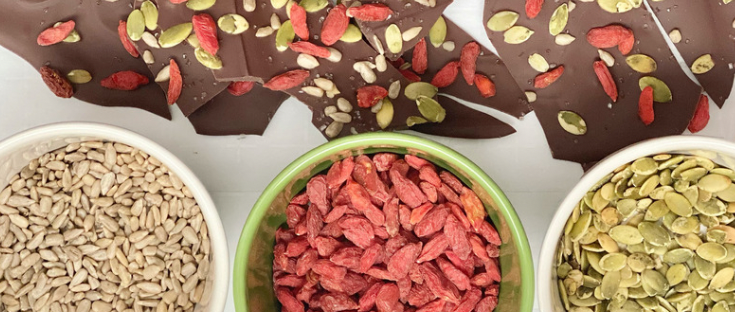 Seed and Berry Chocolate Bark | Vegan, Nut Free, Dairy Free, Egg Free, Soy Free | Sunflower Seed, Pumpkin Seed, Goji Berries | Chocolate Bark