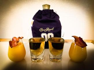 Breakfast in Bed Shot made with Game Day Crown Royal, Butterscotch Schnapps, Orange Juice, and Bacon