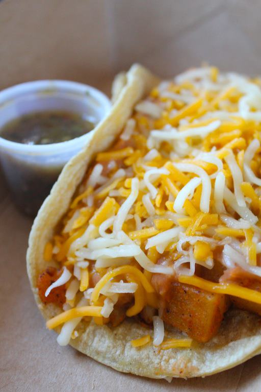 Torchy's Tacos Potato, Choice of Pinto or Black Refried Beans, and Cheese Taco