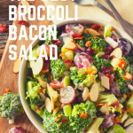 A creamy crunchy Broccoli Salad with a slightly sweet dressing. This side salad is loaded with broccoli, bacon, grapes, craisins, almonds, cheddar cheese, & homemade dressing!