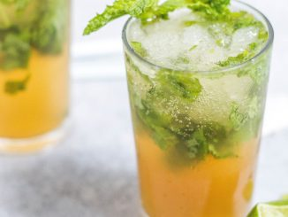 Brinley Gold Shipwrecked Mango Rum, Tropical Mango Moscato, and diced fresh mangos are the ingredients to make the Mango Moscato Mojito.