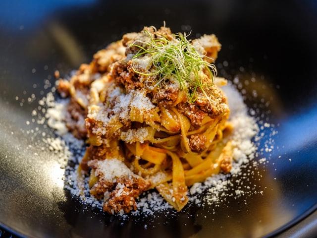 A plate of classic ragu bolognese.