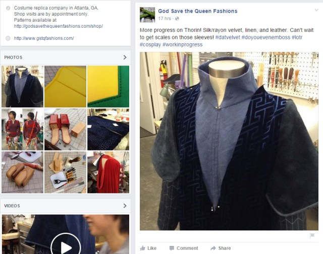 Screenshot of God Save the Queen Facebook page. Image section shows progress pictures of their current projects and what high quality they are.