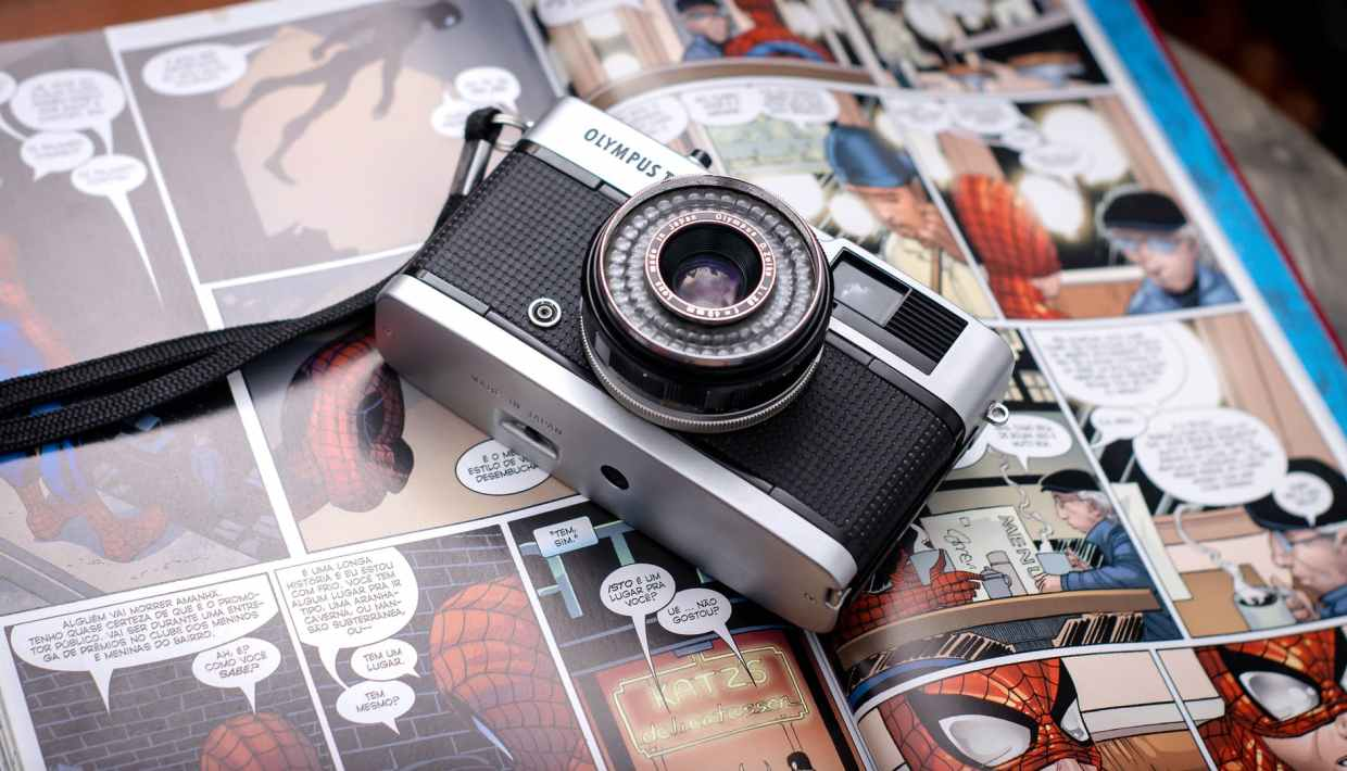 retro camera on comic book