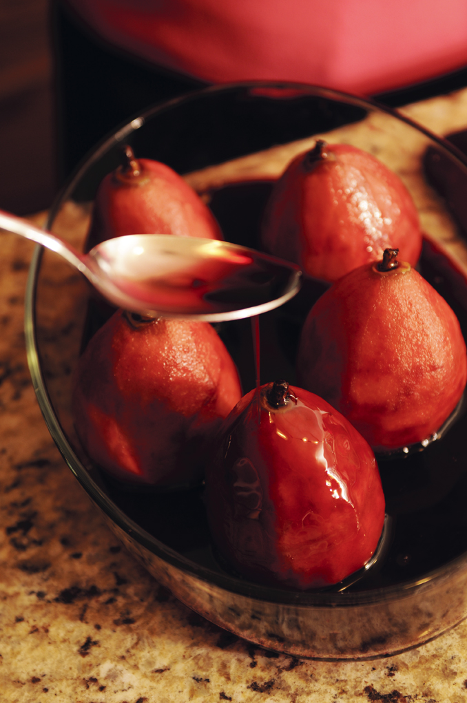 Poached Pears in Red Wine