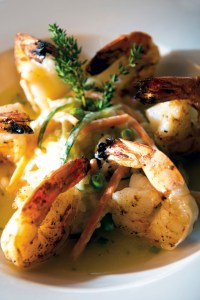 Grilled jumbo shrimp in a garlic sauce
