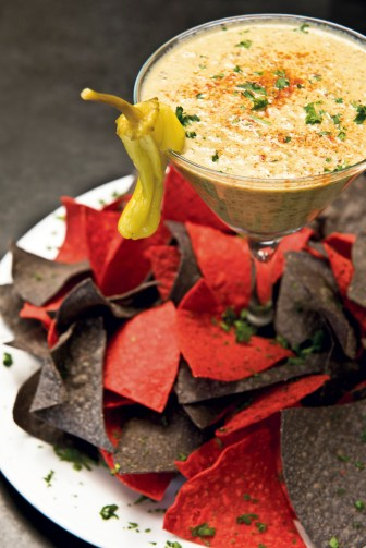 Smoked gouda queso and chips