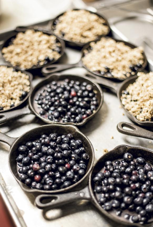Spent grain blueberry cobbler