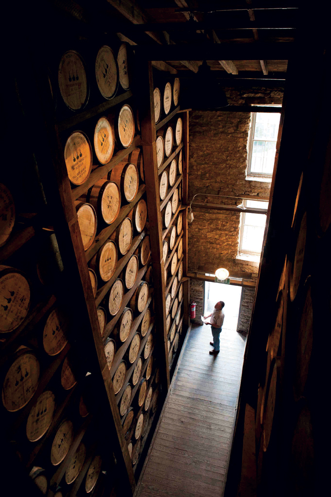 One of Woodford Reserve's barrel warehouses