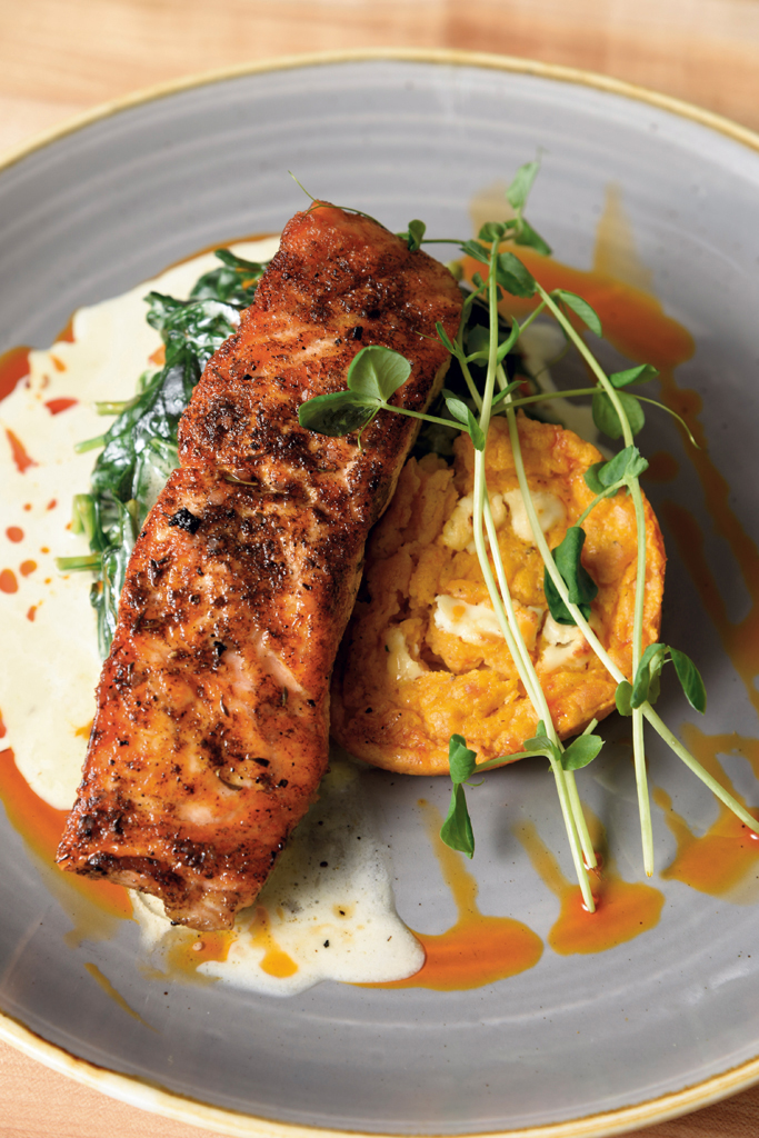 Atlantic salmon with sweet potato spoon bread and creamed spinach