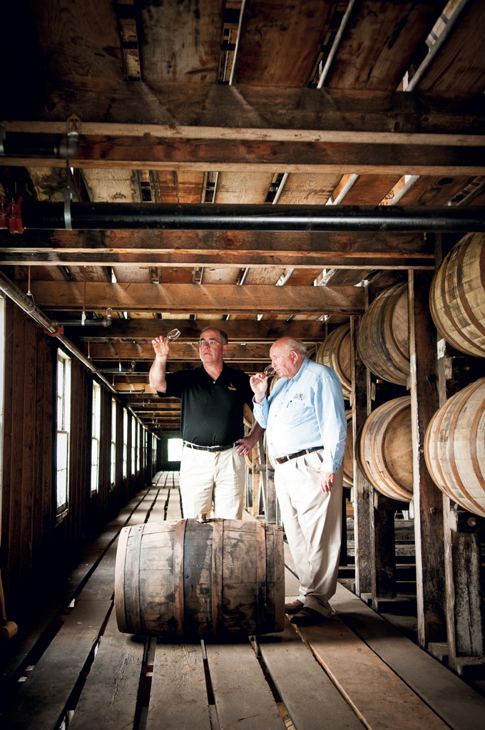 "Co-master distiller, Eddie Russell (pictured with Jimmy), has been with Wild Turkey for ""only"" 35 years."