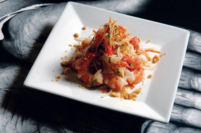 Basa's green papaya salad with tiger prawns and a chili vinaigrette