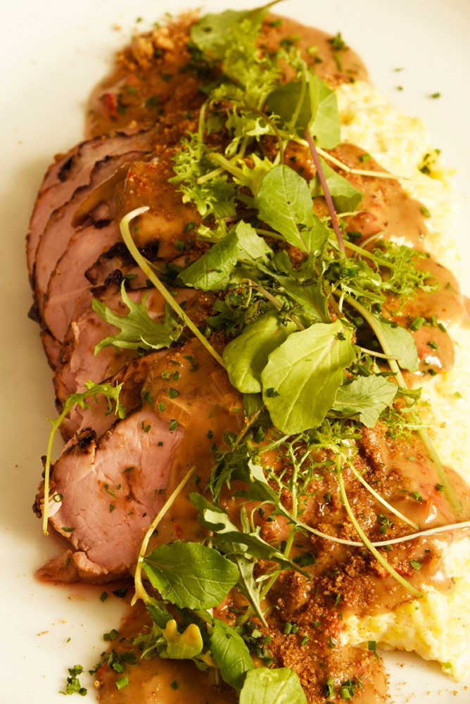 Pork loin with cheese grits and red-eye gravy