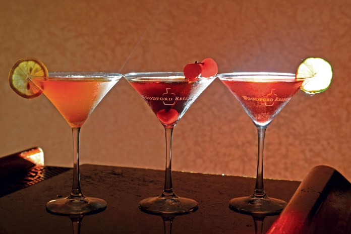 Veteran bartender Joy Perrine, an employee for 29 years, heads the cocktail program. Pictured are three of her concoctions— (from left) Ginger Snap, Bourbon Ball, Ruby Red Slipper.