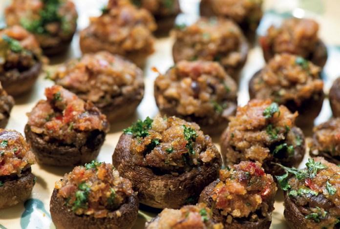 Country ham stuffed mushrooms