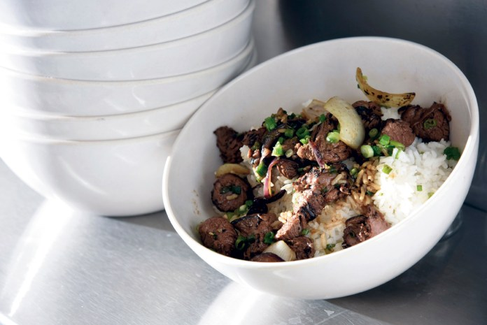 """""""Shaken Beef"""" with jasmine rice"""