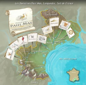 Map of Domaines Paul Mas vineyards and wineries