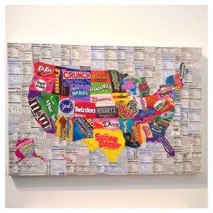 Artist's rendition of the U.S. cloaked in candy