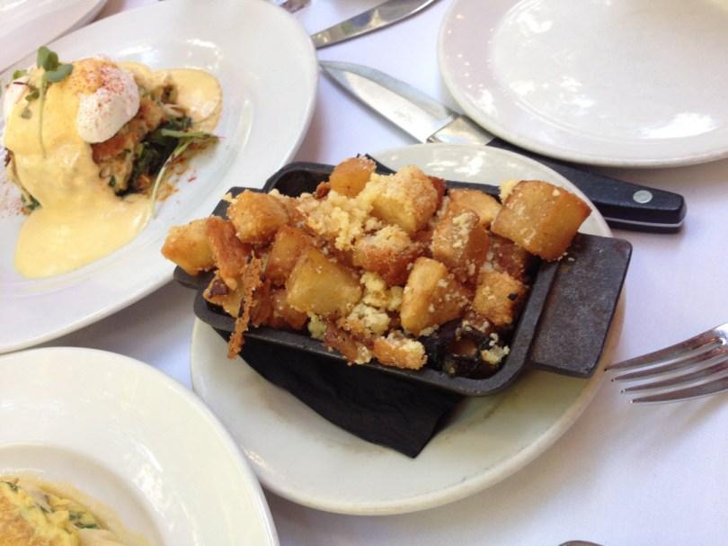 Crabcake Benedict and jalapeno hash browns