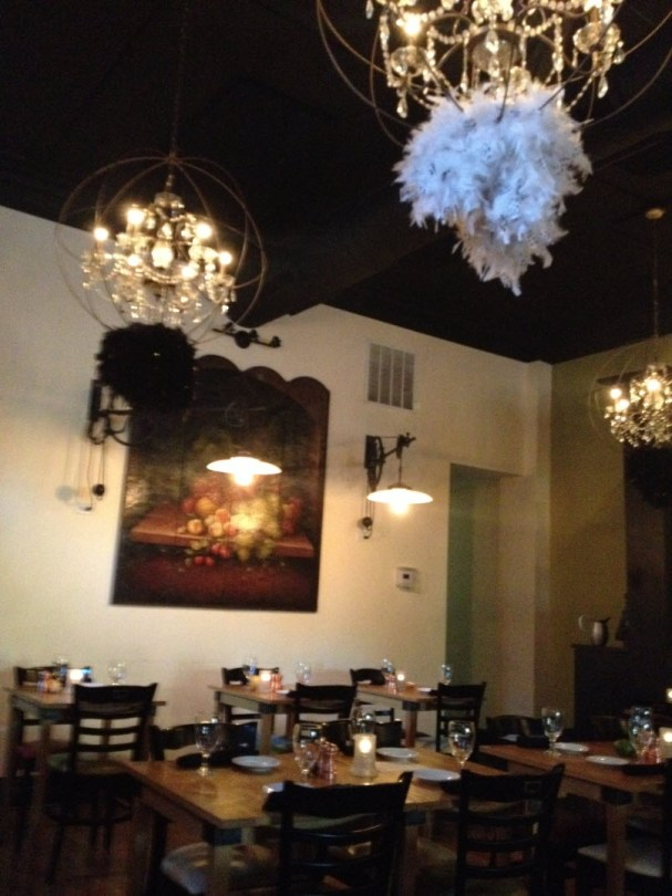Country French with be-feathered crystal chandeliers