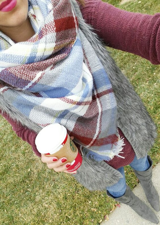 Plaid Blanket Scarf~Style Ideas