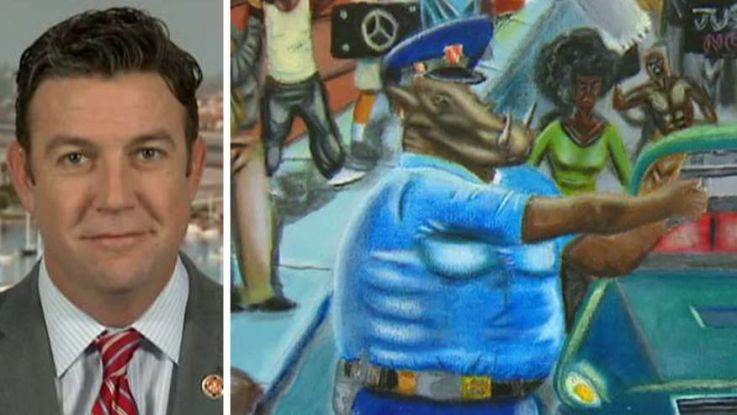 Dems to rehang painting depicting police as pigs, after GOP rep took it down