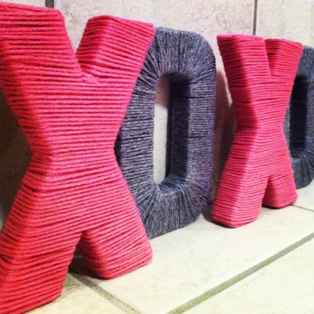 XOXO Yarn Wrapped Jumbo Letters