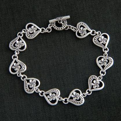 Artisan Crafted Sterling Silver Heart Bracelet, 'Loyal Love'