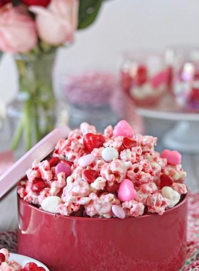 Pink Valentines Day Popcorn