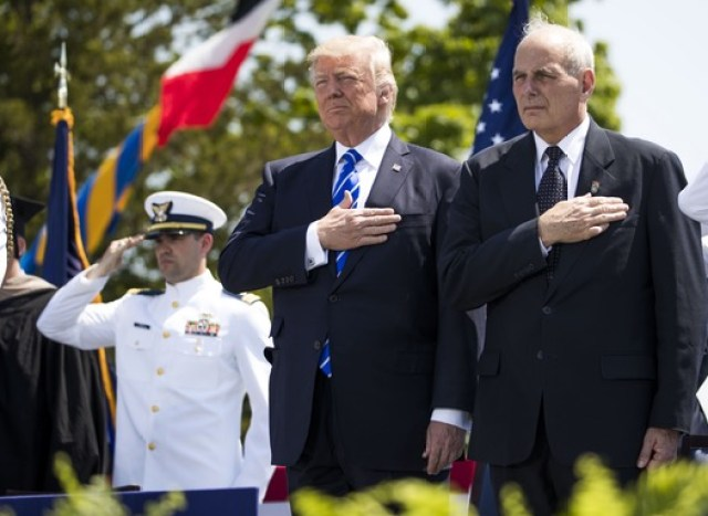 Trump laughs at suggestion by DHS Kelly to use saber 'on the press'