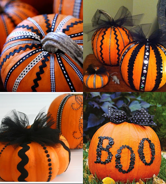 DIY pumpkin decorating using buttons  lace and sequins