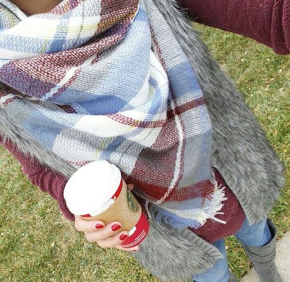 Plaid Blanket Scarf~Style Ideas