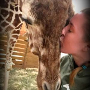 April the Giraffe Shares Selfie with Zookeeper Allysa