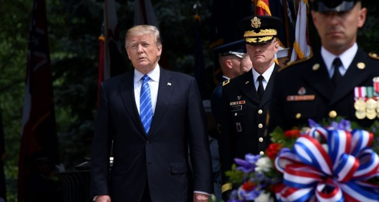 President Trump Delivers Speech At Arlington Cemetery; Lays Wreath On Tomb Of The Unknown Soldier