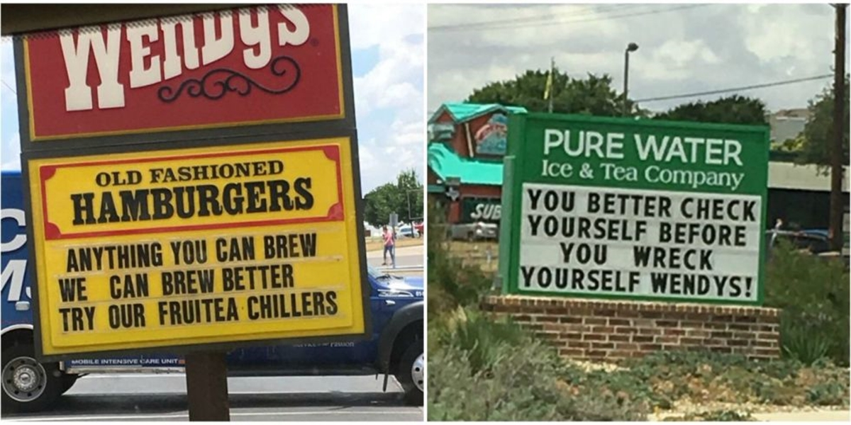 Texas Wendy's And Neighboring Pure Water Are Having A Hilariously Epic Sign War