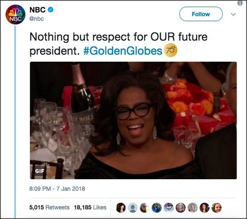NBC declares Oprah 'our future president' on Twitter, then deletes it